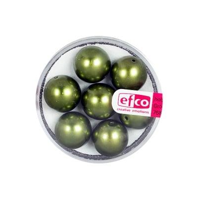 Стъклени восъчни перли, 12 mm, 7 бр., зелени