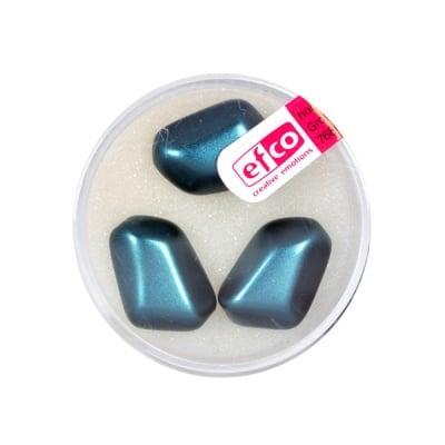 Стъклени восъчни перли, 18x13 mm, 3 бр., синьо зелени