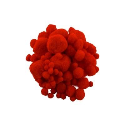 Помпони, ф 10-45 mm, 100 бр.,червени