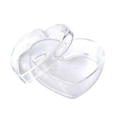 Кутийка сърце от пластмаса, 85 x 40 mm,прозрачна