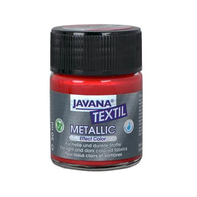 Текстилна боя Metallic JAVANA, 50ml, червена