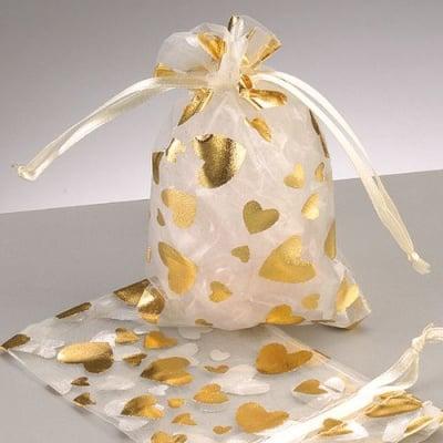 Торбичка от органза, 7,5 x 11,5 cm, златна