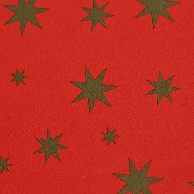 Варио картон, 300 g/m2, 50 x 70 cm, 1л, червен със златни звезди