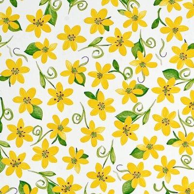 Варио картон, 300 g/m2, 50 x 70 cm, 1л, Цветя, жълти