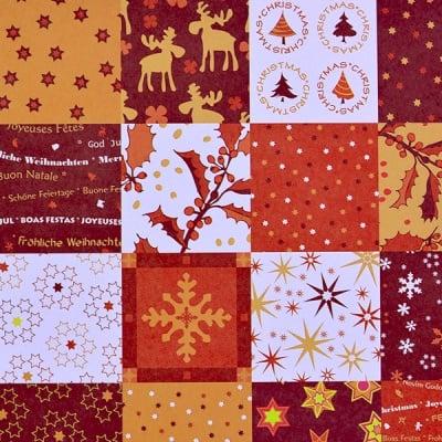 Варио картон, 300 g/m2, 50 x 70 cm, 1л, коледен квадрати червен
