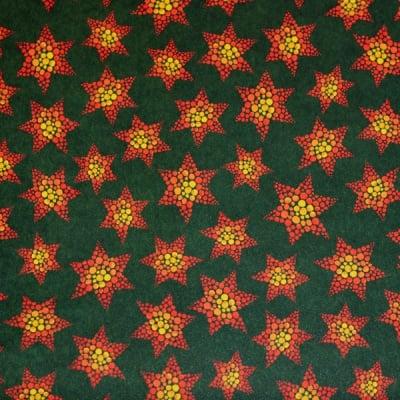 Варио картон, 300 g/m2, 50 x 70 cm, 1л, коледен звезди зелен