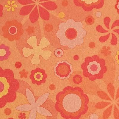 Варио картон, 300 g/m2, 50 x 70 cm, 1л, оранжев на цветя