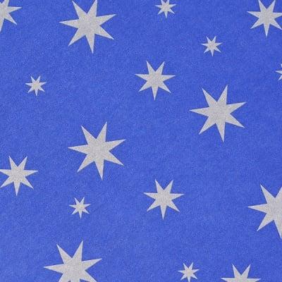 Варио картон, 300 g/m2, 50 x 70 cm, 1л, син със сребърни звезди