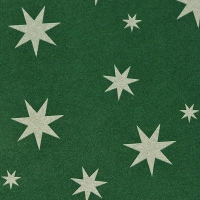 Варио картон, 300 g/m2, 50 x 70 cm, 1л, зелен със сребърни звезди
