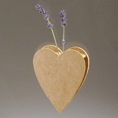 Ваза от папие маше във форма на сърце със стъклена вложка, 10,5 x 8,3 x 2,5 cm, 2 бр.