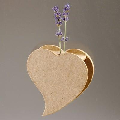 Ваза от папие маше във форма на сърце със стъклена вложка, 10,5 x 8,5 x 2,5 cm, 2 бр.