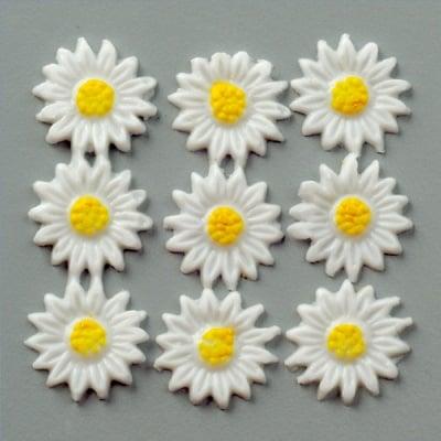 Восъчна декоративна фигура, Margerite, 14 mm, 12 бр., бял / жълт