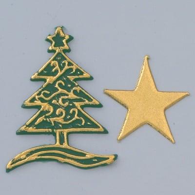 Восъчна декоративна фигура, Tanne + Stern, 50 x 40 mm, 30 x 30 mm, 2 бр. Златисто и зелено