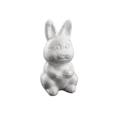 Зайче седнало от стиропор, бял, H 80 mm