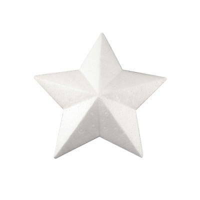 Звезда с ръбове от стиропор, бял, 200 mm