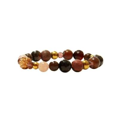 ГРИВНА АХАТ И ЯСПИС - 100% естествени камъни, ръчна изработка, Hot Chocolate