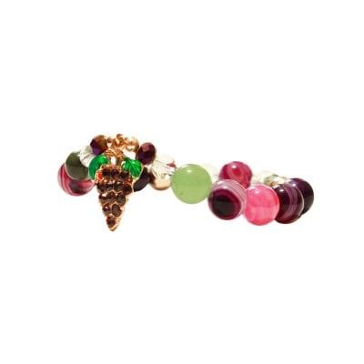 ГРИВНА АХАТ И ПЛАНИНСКИ КРИСТАЛ - 100% естествени камъни, ръчна изработка, Very Berry