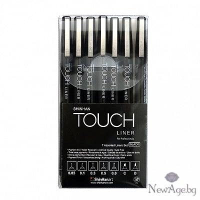 Водоустойчиви тънкописци, TOUCH LINER, черни, 7 бр. комплект