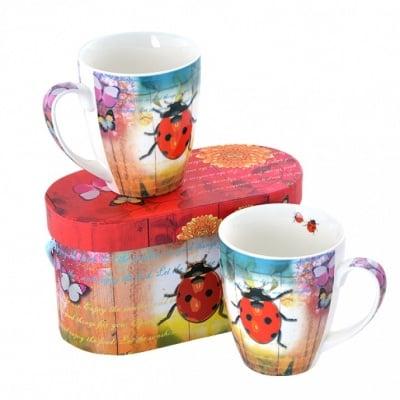 Ladybug & Flowers, 2 бр. порцеланови чаши