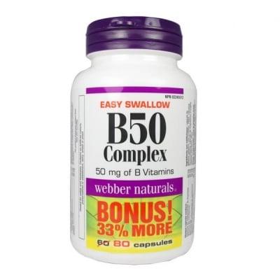 ВИТАМИН В 50 КОМПЛЕКС - за доброто здраве на храносмилателната система,кожата, очите и нервите - капсули х 80, WEBBER NATURALS