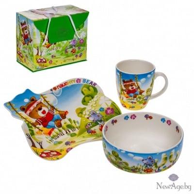 Детски сет - чинийка,чашка и купичка - Mече
