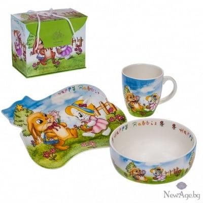 Детски сет - чинийка,чашка и купичка - Зайче