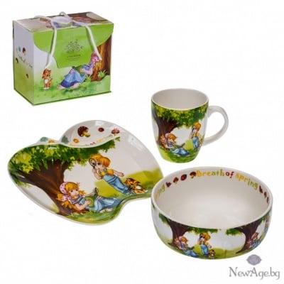 Детски сет - чинийка,чашка и купичка - Пролет