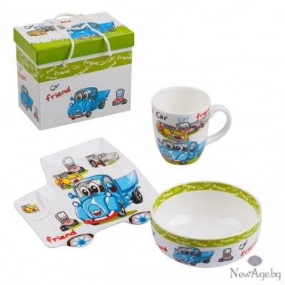 Детски сет - чинийка,чашка и купичка - Количка
