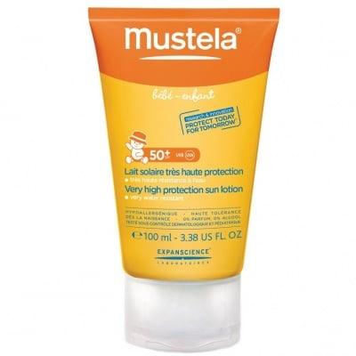 Слънцезащитен лосион за бебета и деца SPF 50+ - худратира кожата - 100 мл., МУСТЕЛА