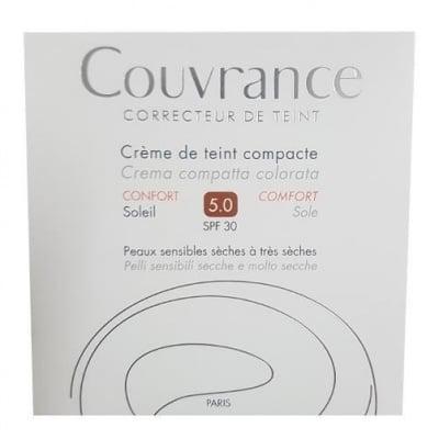 КУВРАНС КОМПАКТНА КРЕМ-ПУДРА КОМФОРТ  5.0 - коригира големи кожни несъвършенства и изравнява тена- SPF 30 БРОНЗ, АВЕН