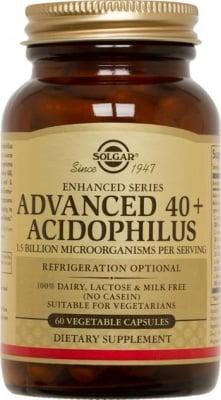 АЦИДОФИЛОС 40+ - подобрява чревната флора и предпазва от паразити и бактерии - капсули х 60 броя, SOLGAR