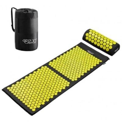 Килимче с възглавница за акупресурен масаж XXL + торбичка за съхранение - при умора, стрес, главоболие, болки в гърба, ишиас