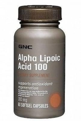 АЛФА ЛИПОЕВА КИСЕЛИНА - защитава клетките от оксидативен стрес - капсули 100 мг. х 60, GNC