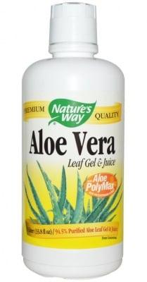 АЛОЕ ВЕРА ГЕЛ И СОК - съдържа 99.7% чист сок от листата на Алое Вера - 1 литър, NATURE'S WAY