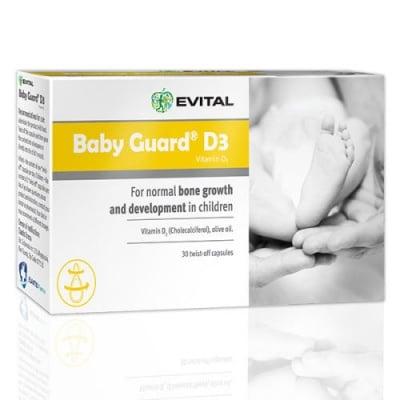 БЕЙБИ ГАРД Д3 - допринася за нормалното състояние на костите и зъбите при бебетата и децата - капсули x 40, EVITAL