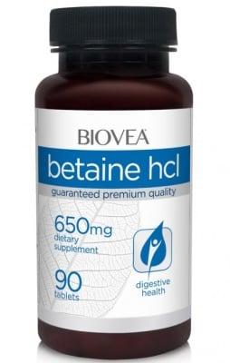 БЕТАИН HLC - подпомага и регулира храносмилателната система - таблетки 650 мг. х 90, BIOVEA