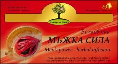 МЪЖКА СИЛА - билков чай, филтър 20 пакетчета, BIOHERBA HEALTH CARE