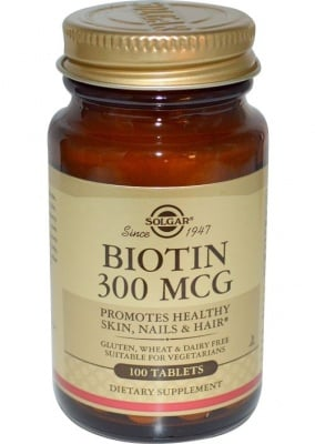 БИОТИН - подпомага строежа и функциите на ноктите, кожата и косата - таблетки 300 мкг. х 100 броя, SOLGAR