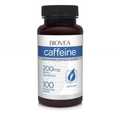 КОФЕИН - стимулира метаболизма и изгарянето на излишните калории -  таблетки 200 милиграма х 100 броя, BIOVEA