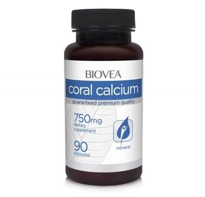 КАЛЦИЙ КОРАЛОВ - за здрави кости и зъби - капсули 750 мг. х 90, BIOVEA