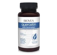 КВАРЦЕТИН + БРОМЕЛАИН - Поддържа здравето на синусите и здравословни нива на хистамин - капсули х 100, BIOVEA