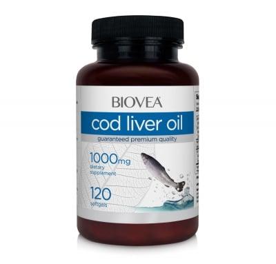 МАСЛО ОТ ЧЕРЕН ДРОБ НА ТРЕСКА - поддържа функцията на нервната, сърдечно-съдовата система и паметта - капсули 1000 мг. х 120,BIOVEA