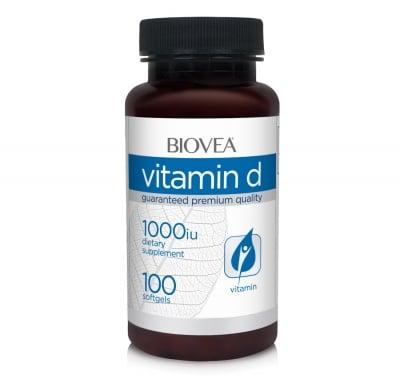 ВИТАМИН D - помага за изграждането на здрави кости - капсули 1000 iu х 100, BIOVEA