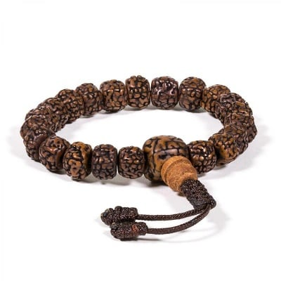 Будистка молитвена броеница: мала/гривна рудракша с 21 полирани семена