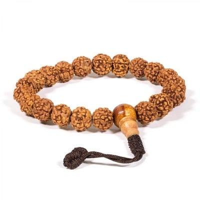 Будистка молитвена броеница: мала/гривна с 21 рудракша семена
