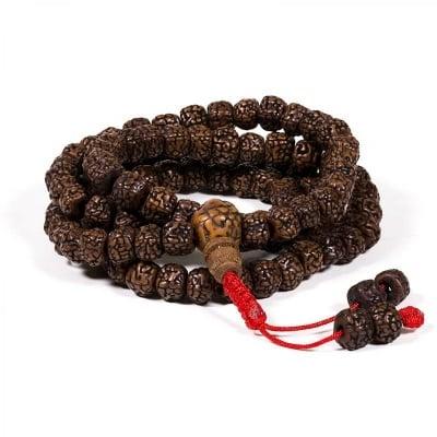 Будистка молитвена броеница Рудракша мала от полирани семена рудракша 7 мм
