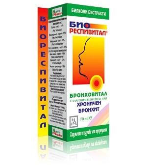 БРОНХОВИТАЛ - БИОРЕСПИВИТАЛ - за благоприятен ефект върху дихателните пътища, течна форма 70 мл., МИРТА МЕДИКУС