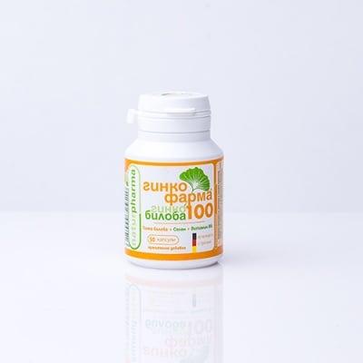 ГИНКО ФАРМА 100 ГИНКО БИЛОБА при студени крайници, подобрява паметта - 100 мг. * 50 капсули