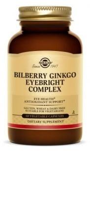БИЛБЕРИ ГИНКО КОМПЛЕКС - подобрява зрението и неутрализира свободните радикали - капсули х 60, SOLGAR
