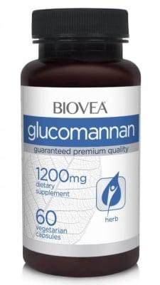 ГЛЮКОМАНАН - поддържа здравословни нива на холестерола - капсули 1200 мг. х 60, BIOVEA